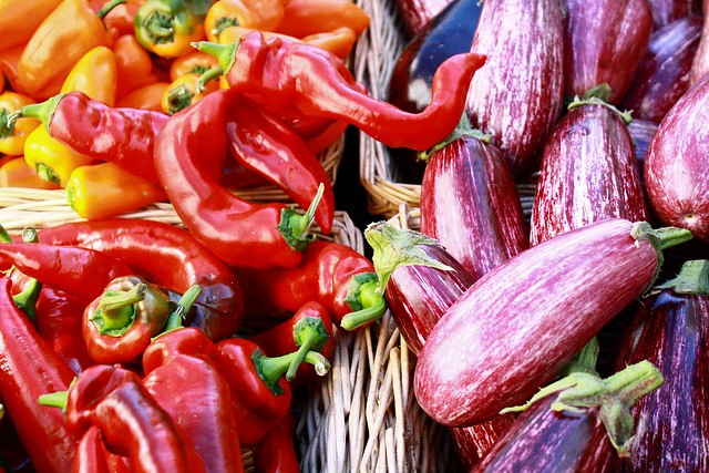 red sweet peppers and aubergines