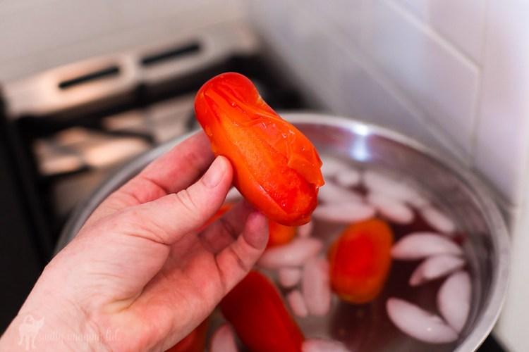 Remove Skin from Fresh San Marzano Tomatoes