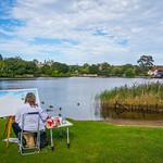 Lady painting Beaulieu Lake