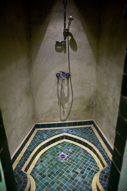 riad, Fes, Morocco, tile, shower