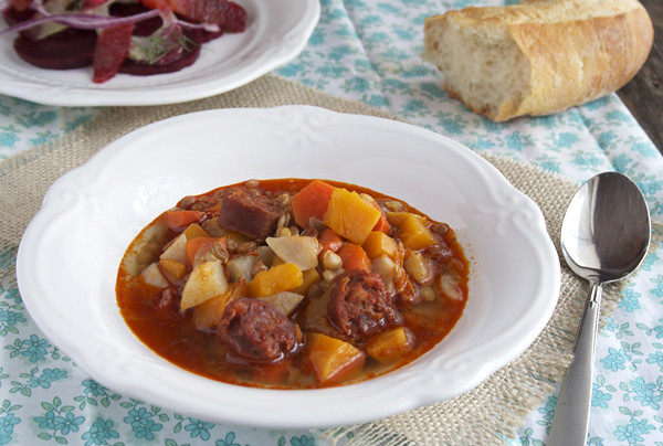 Lentil Stew with Butternut Squash and Chorizo Sausage