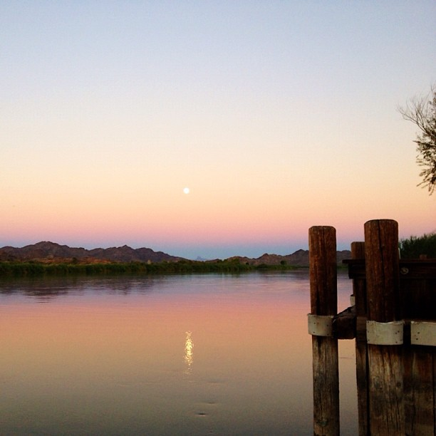 #full #moon rising over #colorado #river #picacho #camping