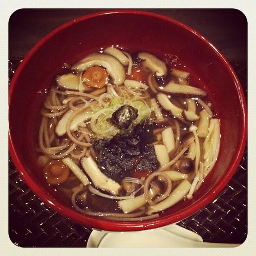 buckwheat soba with mushrooms