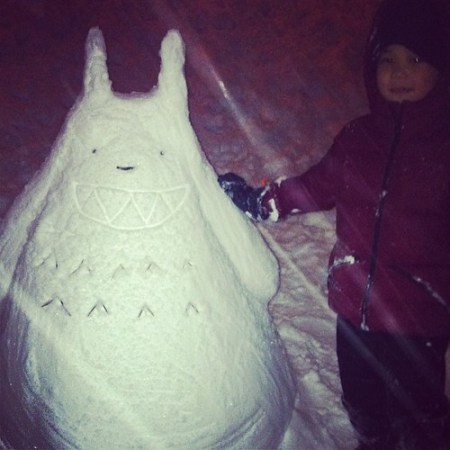 Totoro dayo! In defense - we were using our hands, no sculpting materials. :P