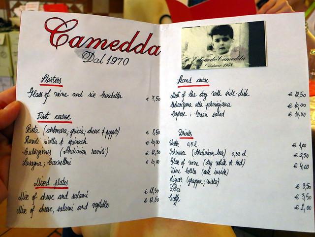 Camedda - dal 1970 a Roma- menu