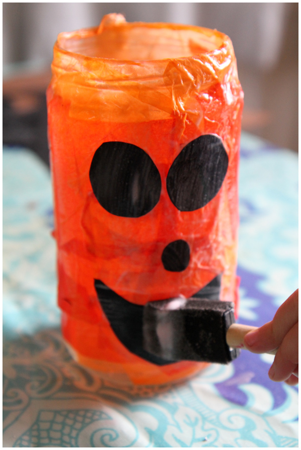 Making Recycled Glass Jar Glowing Jack-O'-Lanterns