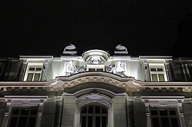 Walking at night in Sofia