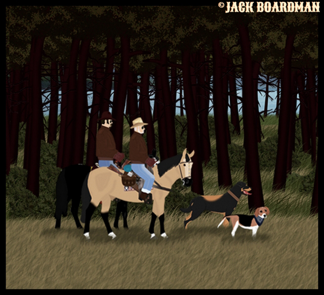 Boomer & Company ride north through the forest ©2012 Jack Boardman