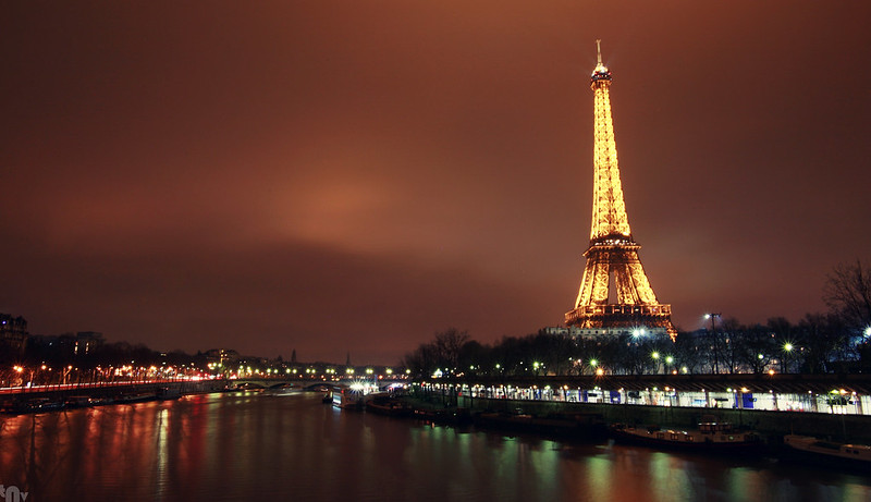 Paris by night - Eiffel tower and Seine river