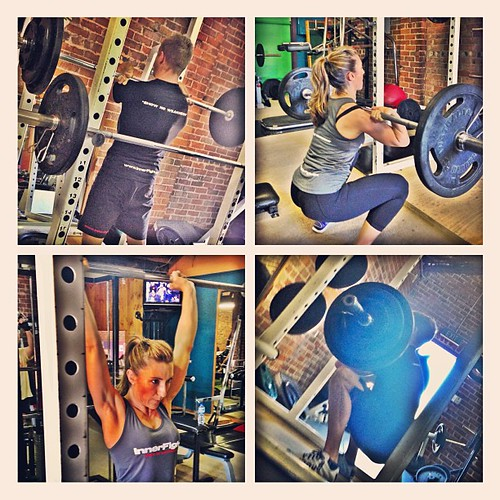 10-1 front squat & strict press with @hollytrolleydolly #workout #training #gym #fitness #fun #heavy #weights