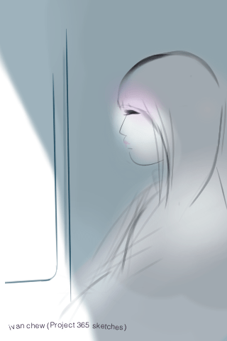 """Doll in the Train"" (#37: Project 365 Sketches)"