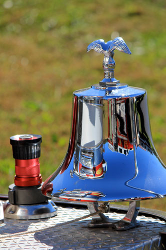 Bell on  the front of a fire truck.