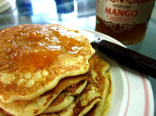 Pancakes with mango chutney