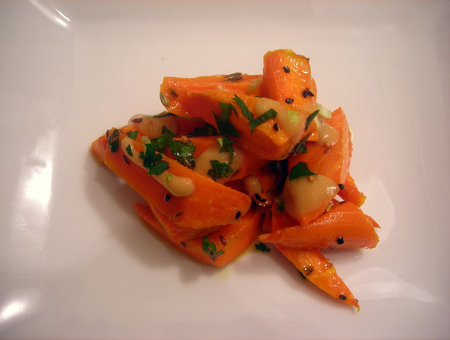 Roasted carrots with miso-mustard vinaigrette