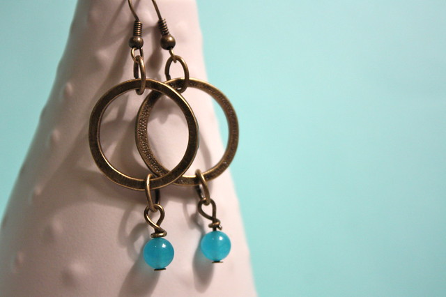 Hammered Brass-Tone Ring Earrings with Blue Quartzite