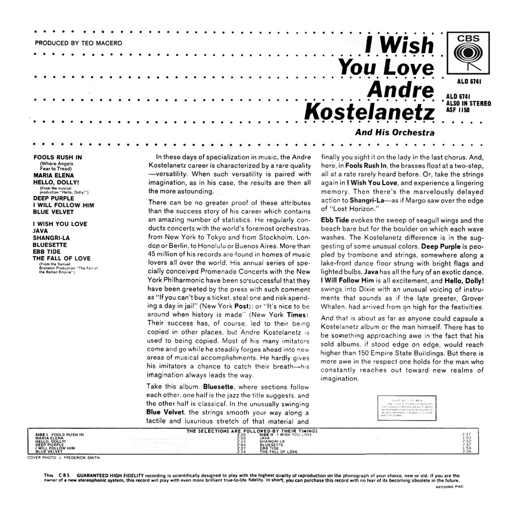 André Kostelanetz - I Wish You Love