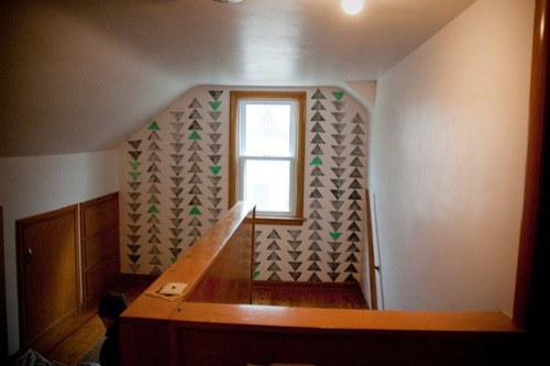 Upstairs pattern wall: Triangles