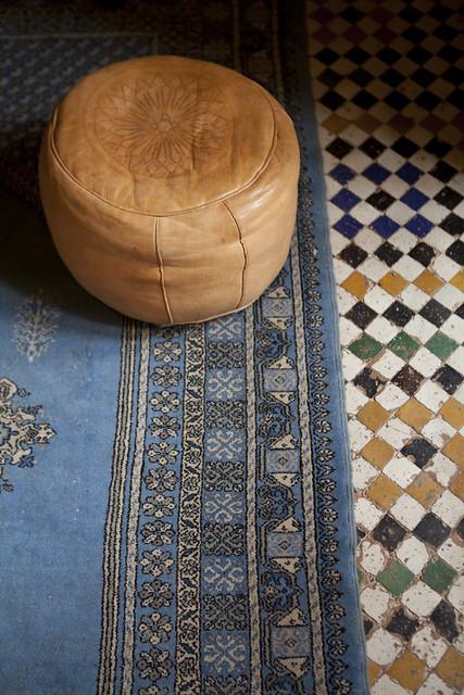 riad, Morocco, Fes, tile, carpet