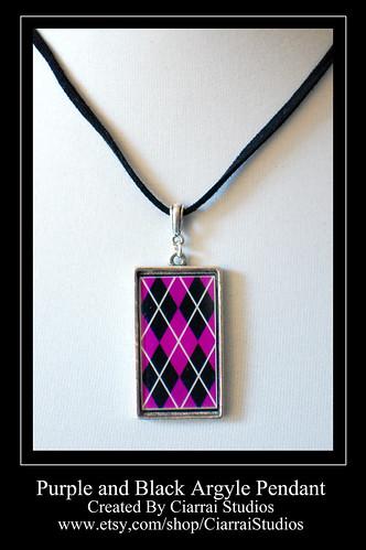 Purple and Black Argyle Pendant