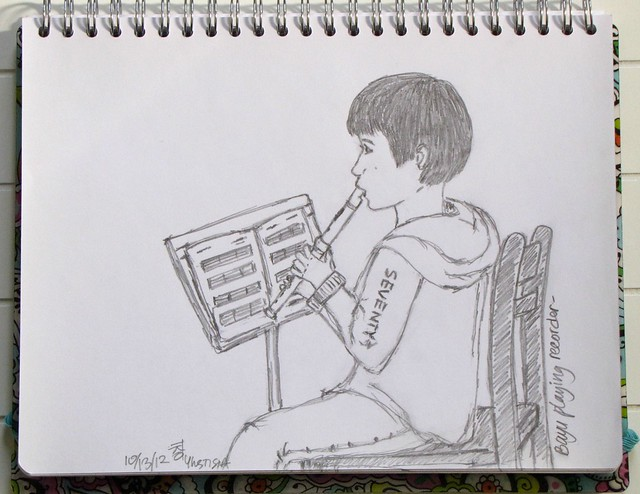 Sketch: A Boy Playing Recorder