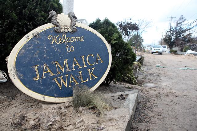 Fallen woodent sign at Breezy Point, Far Rockaway after Hurricane Sandy