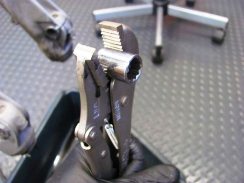 13 mm socket and vice grip