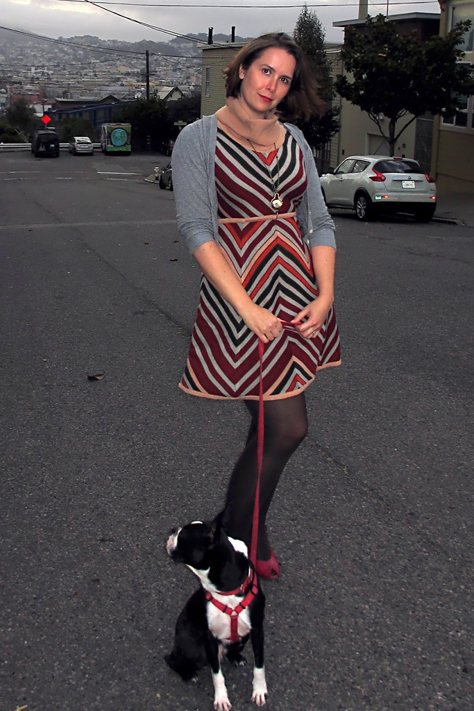 Sweater dress, cardi, and tights. Just in time for the fall weather! (Photo by Pat Zimmerman.)