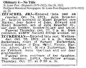 ZUCKERMAN_Sophia Zuckerman, St Louis Post-Dispatch 26 oct 1921 p24 col d