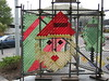 Christmas decorations on scaffolding at Papanui Library