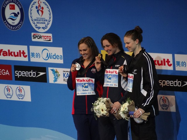 The Istanbul 2012 women's 400 free medal podium
