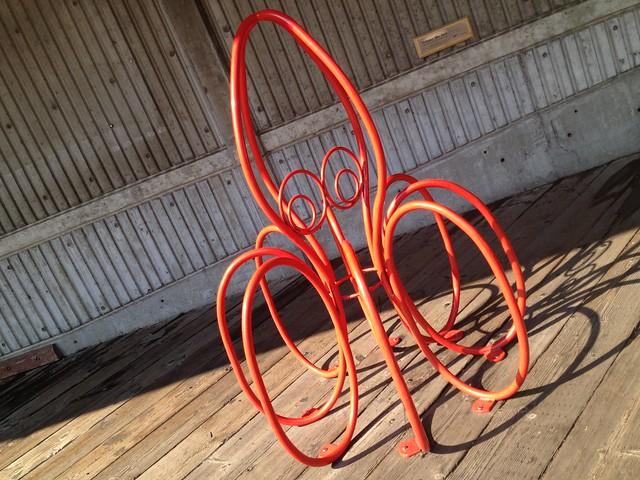 Orange squid bike rack