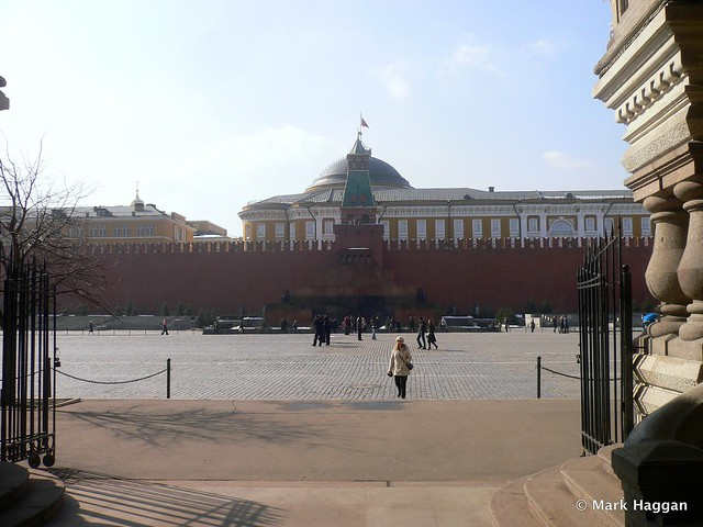 The Lenin Mausoleum and Kremlin from the GUM Shopping Centre