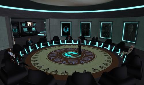 High Council and Senate members meet on Dantooine.