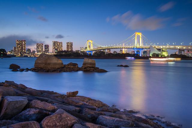 Tokyo Odaiba Rainbow Bridge at Night