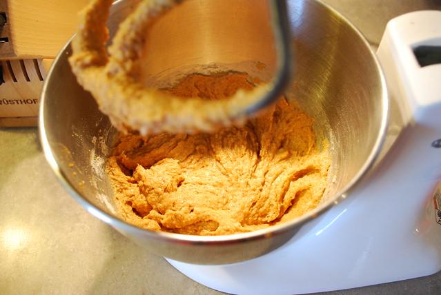 Add sugar, flour, salt, cinnamon and baking soda
