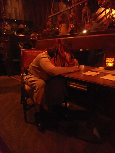 lady sleeping at the tonga room