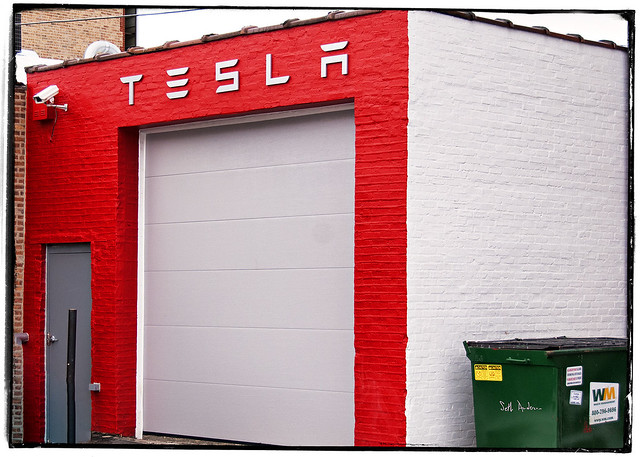 Tesla Garage on Grand Ave