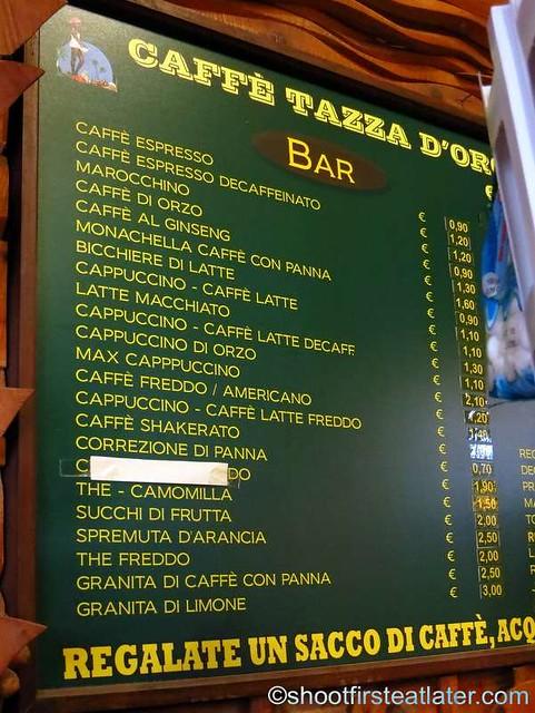Tazza d'Oro menu