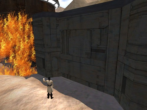 MESC headquarters still burning after several hours as a Jedi tries to put out the flames.