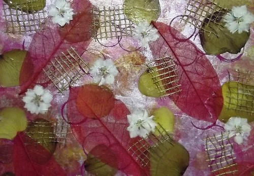 Serendipity Background 7: Skeleton Leaves and dried white flowers alternating with bits of woven cinnamay 2 (Upclose)