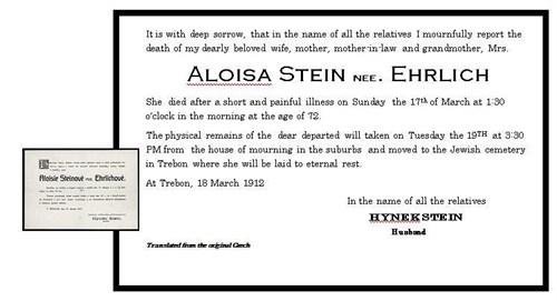 Aloisa death certificate