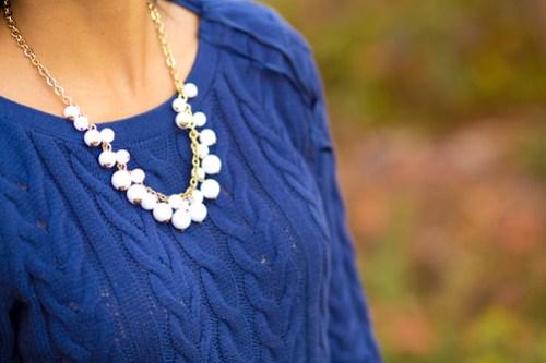 BlueSweaterDressWhiteNecklace