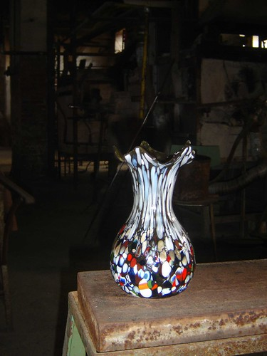 Vase made of Murano glass in Murano Italy