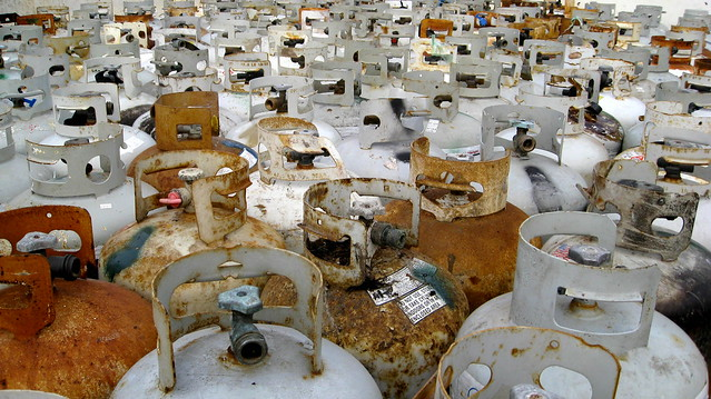 December 2, 2012 - Sea of tanks, collected following EPA's curbside Hazardous Waste pickup days
