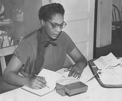 Marie Richardson at Home at Her Desk