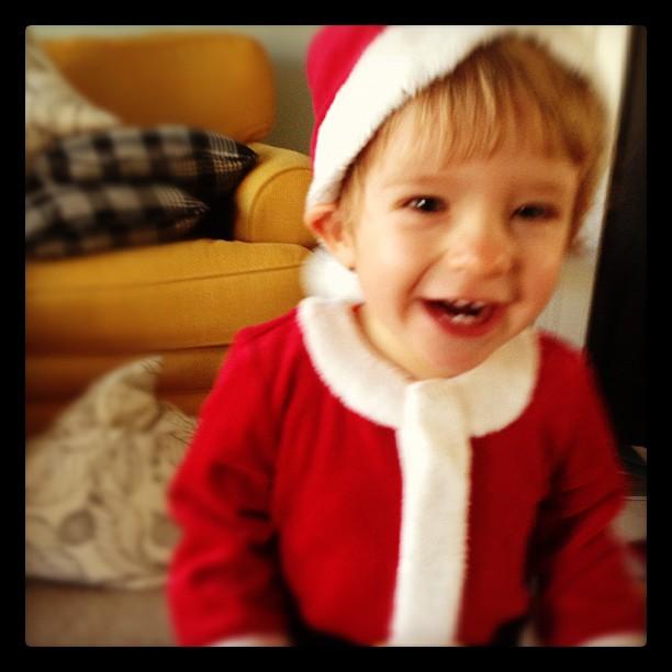 Trying to take a Christmas photo today #smallsanta