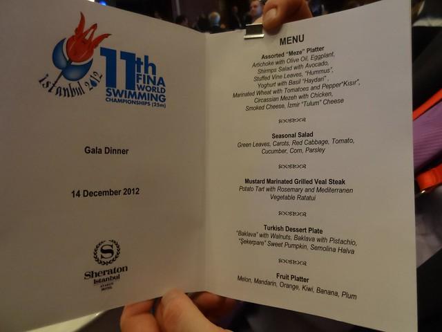 The Istanbul 2012 Gala Dinner menu