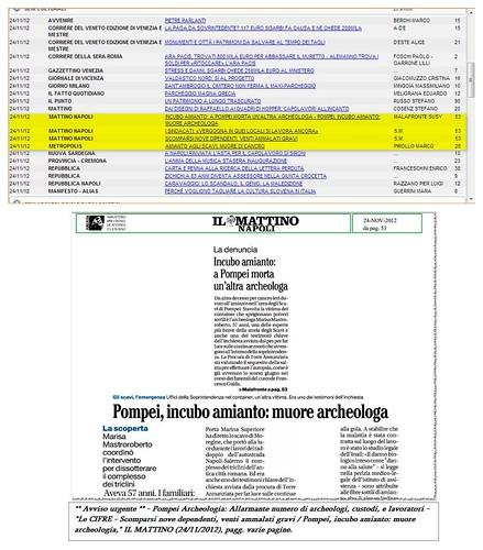 """** Avviso urgente ** - Pompei Archeologia: Allarmante numero di archeologi, custodi, e lavoratori - """"Le CIFRE - Scomparsi nove dependenti, venti ammalati gravi / Pompei, incubo amianto: muore archeologia,"""" IL MATTINO (24/11/2012), pagg. varie pagine. by Martin G. Conde"""