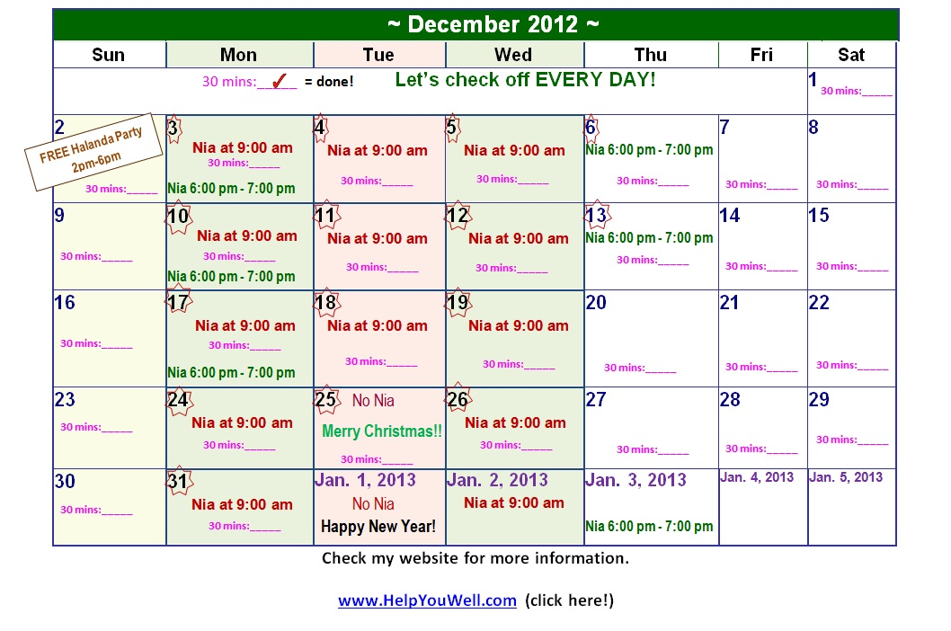 Calendar to mark 30 days of exercise on, Dance Exercise, Nia, Nia at the City of San Jose, Nia classes in the South Bay, Nia Teacher, Nia Class, San Jose Nia, Nia San Jose, Nia workout, Nia, Zumba