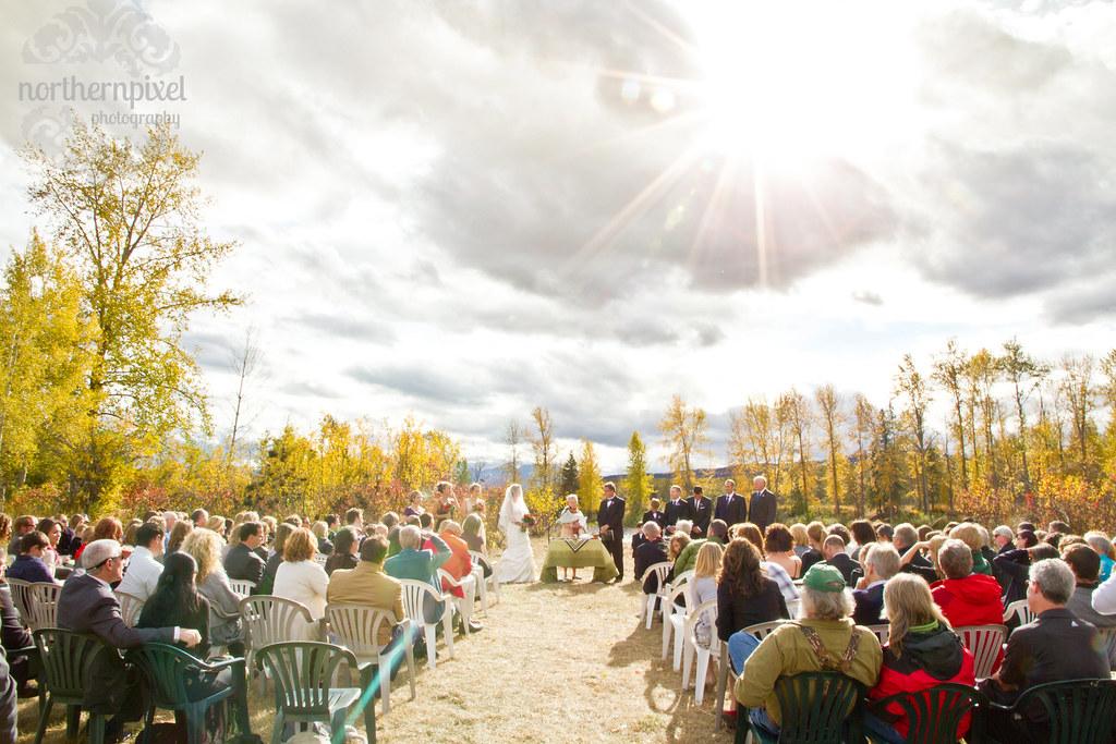Fall Wedding Ceremony along the Bulkley River Smithers British Columbia Wedding